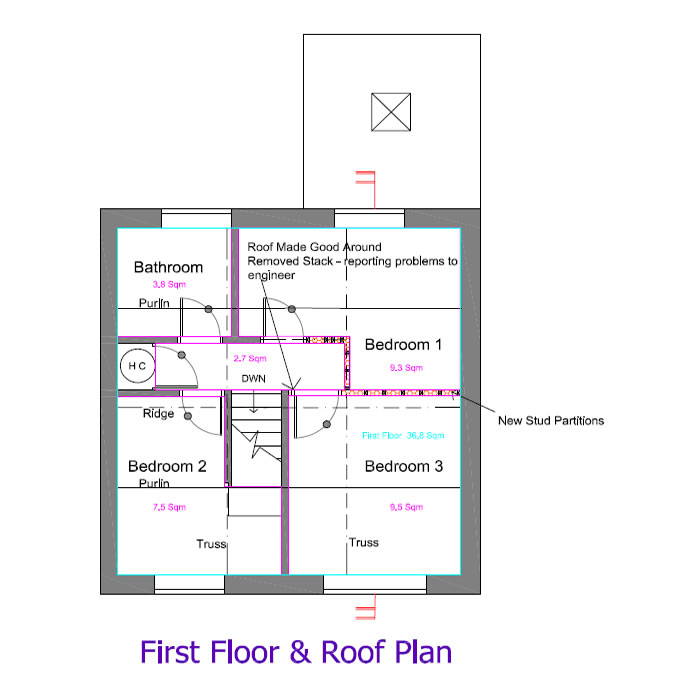 Existing And Proposed Plans First Floor & Roof